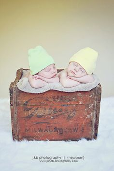 Twin Newborn Photo-but for one!! I have a milk crate