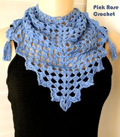 Lenço Triângulo Azul - Crochet Triangle Scarf