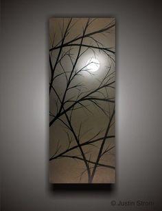 Luz de luna---hecho a la medida Original pintura abstracta por Justin Strom grande 40 x 16 profundo Galería lienzo con Color metálico de desplazamiento