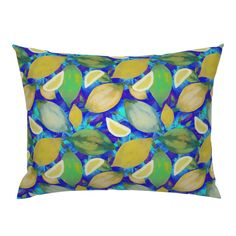 LEMON ZEST BLUE TURQUOISE PSMGE on Campine by paysmage | Roostery Home Decor Pillow Shams, Spoonflower, Backdrops, Pillow Covers, Bedding, Lemon, Fabrics, Tapestry, Colorful