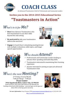 """Coach Class Toastmasters Invites you to the 2014-2015 Educational Series """"Toastmasters in Action""""  Maneuvering Through Difficult Conversations with O'Leary Logan, Co-founder of Renaissance Works, Inc   Contact: Sonya Vasquez, DTM sonyavasquez.toastmaster@gmail.com  (323) 404-1230"""