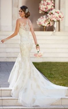 Stella York Fit and Flare Wedding Dress with Illusion Necklin style 6298 a