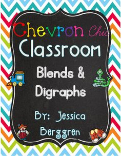 Chevron Chic Classroom Blends and Digraphs contains: Coordinating colors to Dots on Turquoise from Creative Teaching Press (red, orange, lime and teal)25 Full size Blend and Digraph posters-Large chevron Backgrounds in cherry red, orange, green, and teal (If you would like smaller cards, you can adjust the settings on your printer, to print 2 per page see tutorial on my blog: Printing Tutorial-These have an alpha pic and a word below the picture.(25 pages)fl, bl, cl, pl, sl, gl, fr, gr, cr…