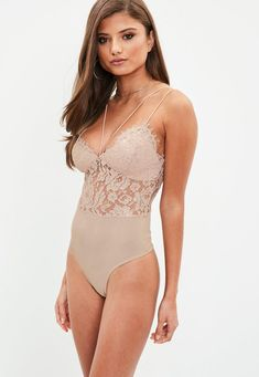 Premium Nude Corded Lace Harness Bodysuit | Missguided