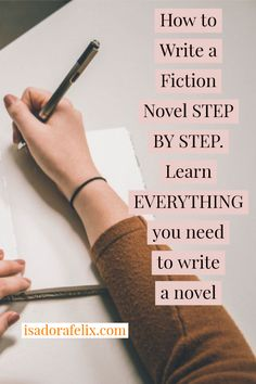 How to Write a Fiction Novel STEP BY STEP - Learn EVERYTHING you Need to Write a Novel Learn how to write a book, how to start writing a book for beginners, how to finish writing a story, and more. Creative Writing Tips, Book Writing Tips, Writing Process, Writing Quotes, Writing Resources, Writing Skills, Writing Workshop, Writing Ideas, Writing A Novel