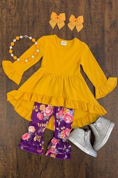Mustard & Purple Floral Boutique Set Baby Kids Clothes, Toddler Girl Outfits, Kids Outfits, Cute Outfits, Girls Boutique, Boutique Clothing, Purple Baby, Pink, Little Girl Dresses