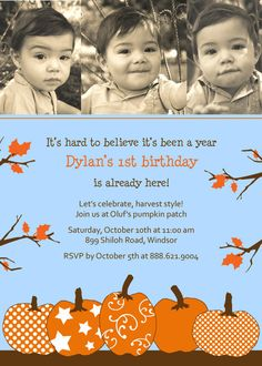 Fall birthday party - It's hard to believe it's been a year, Dylan's first birthday is already here!  Our little pumpkin is turning one, so please come join us for lots of Fall fun!