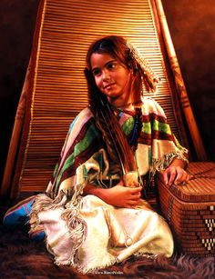"""""""Day Dreamer""""Private Collection24"""" x 18"""" -Native American Paintings by Karen Noles"""