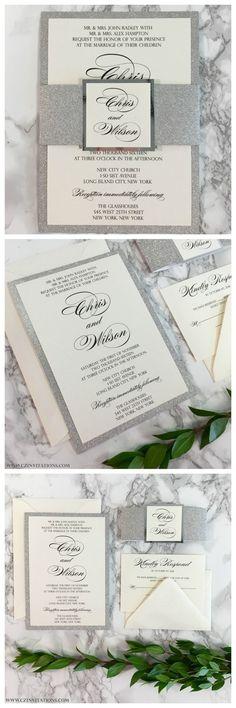 Silver glitter wedding invitations from CZ Invitations, LLC