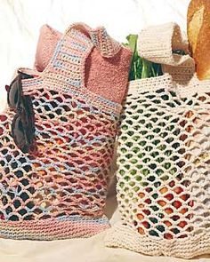 Lightweight crochet string bag, great for carrying groceries or anything else. Make several and carry them in your car for shopping trips. 11.5 in [29 cm] wide x 18 in [45.5 cm] long.