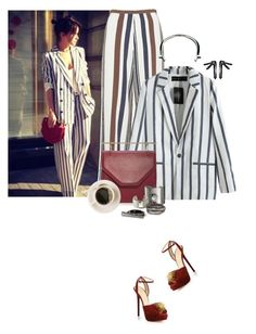 """""""stripes vibe"""" by visibleinterest ❤ liked on Polyvore featuring moda, Topshop, M2Malletier, Charlotte Olympia, jewelry e Visibleinterest"""