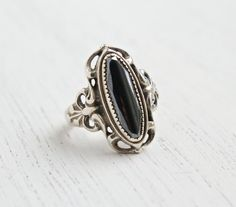 Vintage Sterling Silver Hematite Ring - Signed WM Wheeler Mfg. Co Size 6 1/4 Filigree Jewelry / Gray Marquise Statement by Maejean Vintage on Etsy, $38.00