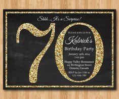 70th birthday invitation. Gold Glitter Birthday Party by arthomer, $10.00