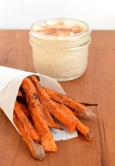 Sweet Potato Fries with Cinnamon Yogurt Dip