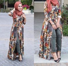 floral long open dress hijab style