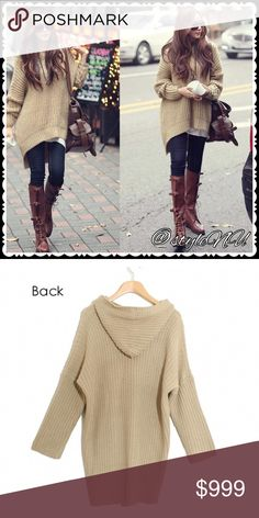 """Coming Soon! Loose, Hooded, long Hi-low sweater Long, loose, hooded, hi-low hem sweater in Beige. Very popular, stylish and chic. Easy to style. Suitable for fall through spring. Made of Acrylic.   One size  Bust: 47.6"""" Front length: 23""""   Permission from wholesaler to use stock photos. *some items come from wholesale not tagged.   Please leave a comment if you would like this in BLACK!                      price approx $45 styleNU Sweaters"""