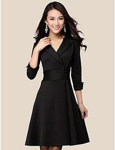 vestido cruzado elegante de la solapa de las mujeres con los botones - USD $ 22.99