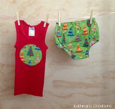 Boy's Christmas Tree Nappy Cover Set - Size 1 - One of a Kind | Kathryn's Creations | madeit.com.au