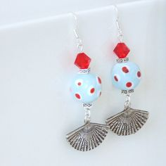 Cluster Earrings with Lampwork Beads Fan Charms / by bleuluciole