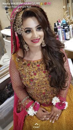 Pakistani Bride Hairstyle, Pakistani Bridal Makeup Hairstyles, Pakistani Mehndi Dress, Bridal Hairstyle Indian Wedding, Bridal Mehndi Dresses, Bridal Hair Buns, Asian Bridal Dresses, Pakistani Wedding Outfits, Indian Bridal Outfits