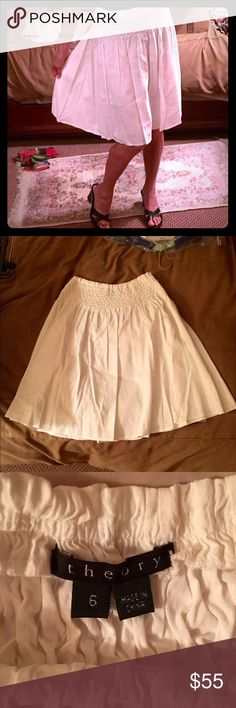 Pretty Theory skirt!   Pretty Theory linen blend skirt!  Side zip and fit and flare style...adorable!  Dressy or casual this is a classic.  Excellent used condition!  Theory Skirts Midi