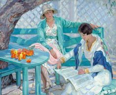 In the Summer House Hilda Rix Nicholas (Australian, Oil on canvas. Rix Nicholas returned to Australia in 1919 with the conviction 'to paint things typical. Reading Art, Girl Reading, Reading Books, Harlem Renaissance, Newcastle, People Reading, Art Gallery, Art Deco, Australian Artists