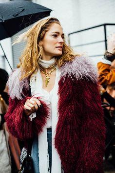 Moda en la calle street style New York Fashion Week febrero 2016 Rodarte y Oscar de la Renta