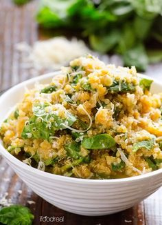 Parmesan Pumpkin and Spinach Quinoa Recipe -- 30 minute, from start to finish, healthy meatless dinner idea.