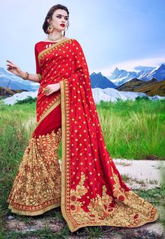 #HalfNHalf #ArtSilk #Jacquard #Saree in #Red