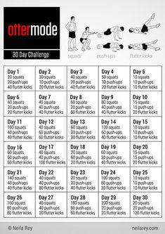 Ottermode Challenge- Squats, Push-ups, Flutter kicks