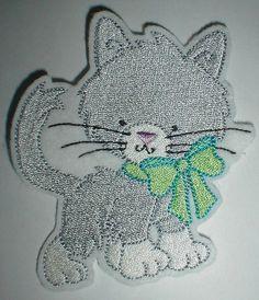 graue Katze mit Schleife - Aufnäher - Applikation
