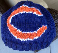 5a280073b6941 Chicago Bears Logo Beanie Hat PATTERN - Ribbed Brim Intarsia Knit in Rows