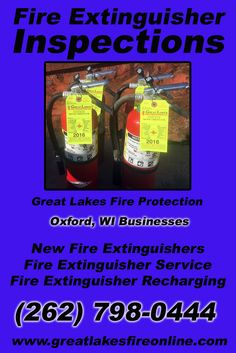 Fire Extinguisher Inspections Oxford, WI (262) 798-0444 Local Wisconsin Businesses Discover the Complete Fire Protection Source.  We're Great Lakes Fire Protection.. Call us today!