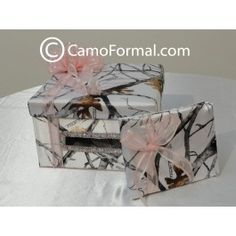 Camouflage Gift Card Box and Guest Book Set available in Mossy Oak as well