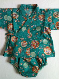 Baby Kimono Jinbei set Japanese Flowers Green by KeikoKatoDesigns $60