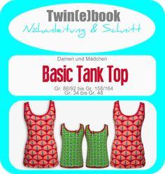 Twin(e)book Basic Tank Top - Schnittmuster und Anleitung als PDF, versandkostenfrei