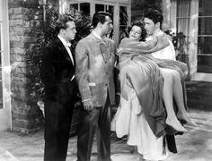 Джон Говард, Гэри Грант, Кэтрин Хепберн и Джеймс Стюарт в Филадельфии история режиссер Джордж Кьюкор, 1940.
