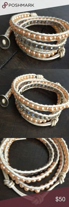 destin coach outlet 15w6  Chan Luu Pearl & Crystal Leather 3 Wrap Bracelet Chan Luu Pearl & Crystal  Leather 3