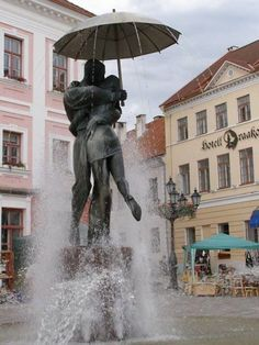 Lovers under an umbrella, Tartu, Estonia