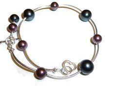 Silver Bracelet with Purple Swarovski Pearls & by BlissfulVine