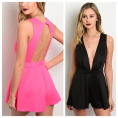 Black or pink romper MODEL IS WEARING THE EXACT PRODUCT  Available in Small, Medium, & Large 20% off all bundles of 3+ items   •Comment below what size you'd like & I'll make a separate listing for you to purchase• Pants Jumpsuits & Rompers