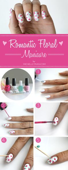 This romantic floral mani is easier than you think! Michelle Phan shares the step-by-step instructions. #nailart #nails #mani