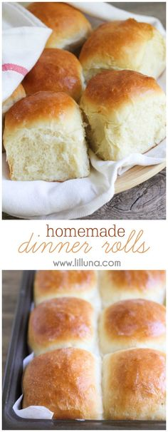 Homemade Dinner Rolls that are so soft and delicious you won't be able to have just one!! Get the recipe on { lilluna.com } #rolls