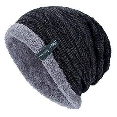 Details about Men Women Winter Baggy Knit Long Slouchy Beanie Hat Fleece  Lined Skull Ski Cap P 1cbb2b10227a