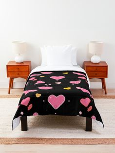 'Cool Black Chic Heart Flirty Print' Comforter by Pamela Arsena Boho Comforters, King Size Comforters, Black Wall Decor, Floral Comforter, College Dorm Decorations, Trendy Home Decor, Pretty Room, Beautiful Bedrooms, Floor Pillows