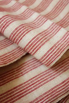 ❤︎   antique french ticking fabric ~ upholstery weight~  www.textiletrunk.com