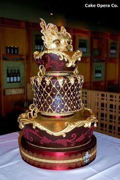 Cake Art - Gold and burgundy Venetian masquerade wedding cake. Masquerade Cakes, Masquerade Wedding, Venetian Masquerade, Venetian Wedding, Masquerade Theme, Masquerade Ball Party, Sweet 16 Masquerade, Unique Wedding Cakes, Unique Cakes