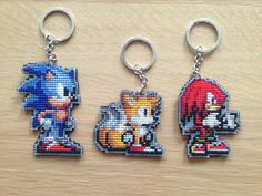 Sonic The Hedgehog Cross Stitched Keychain // Choose Between Sonic, Tails and Knuckles