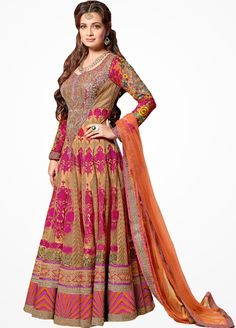 Gorgeous Dia Mirza in Net Anarkali Style Suit with Net Dupatta GMST-16004