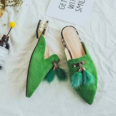 Cheap women flat, Buy Quality pointed toe directly from China flat mule shoes Suppliers: Women flat mules shoes pointed toe slides sandals big size 2017 summer genuine leather with fur pearls slip on shoes size Mules Shoes Flat, Embellished Heels, Only Shoes, Espadrilles, Leather Riding Boots, Mode Outfits, Luxury Shoes, Types Of Shoes, Womens Flats